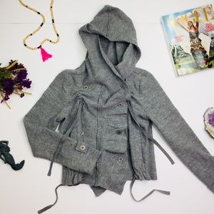 [Free People] 100% Wool Gray Hooded Jacket Small